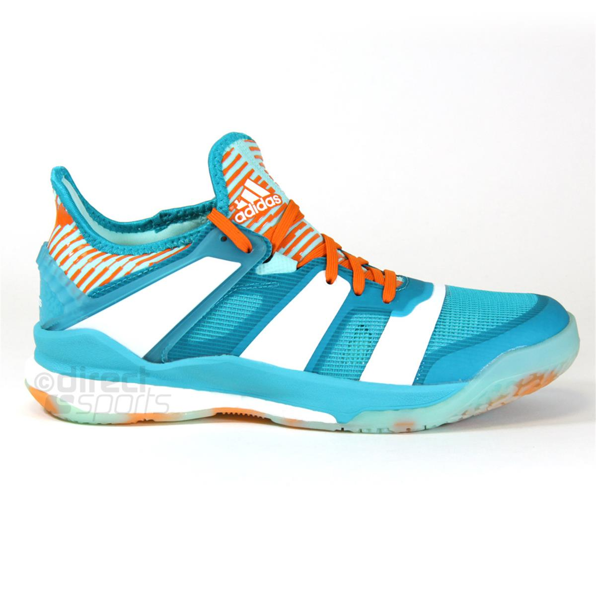 adidas stabil x court shoes aqua white by directbadminton