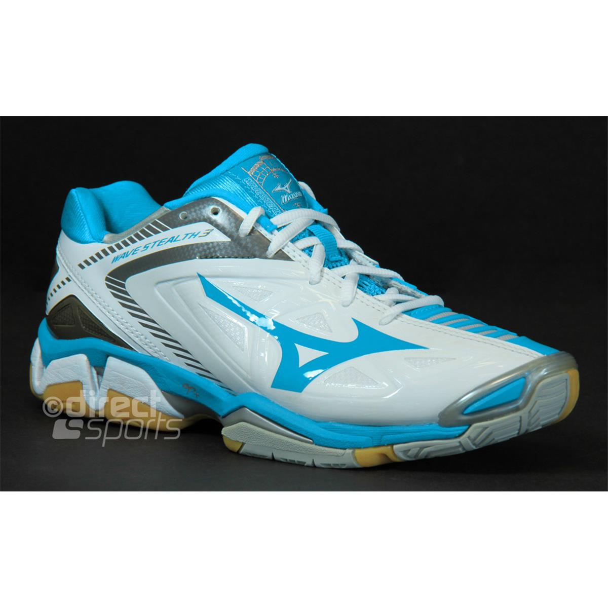 mizuno wave stealth 3 womens court shoes diva blue white. Black Bedroom Furniture Sets. Home Design Ideas