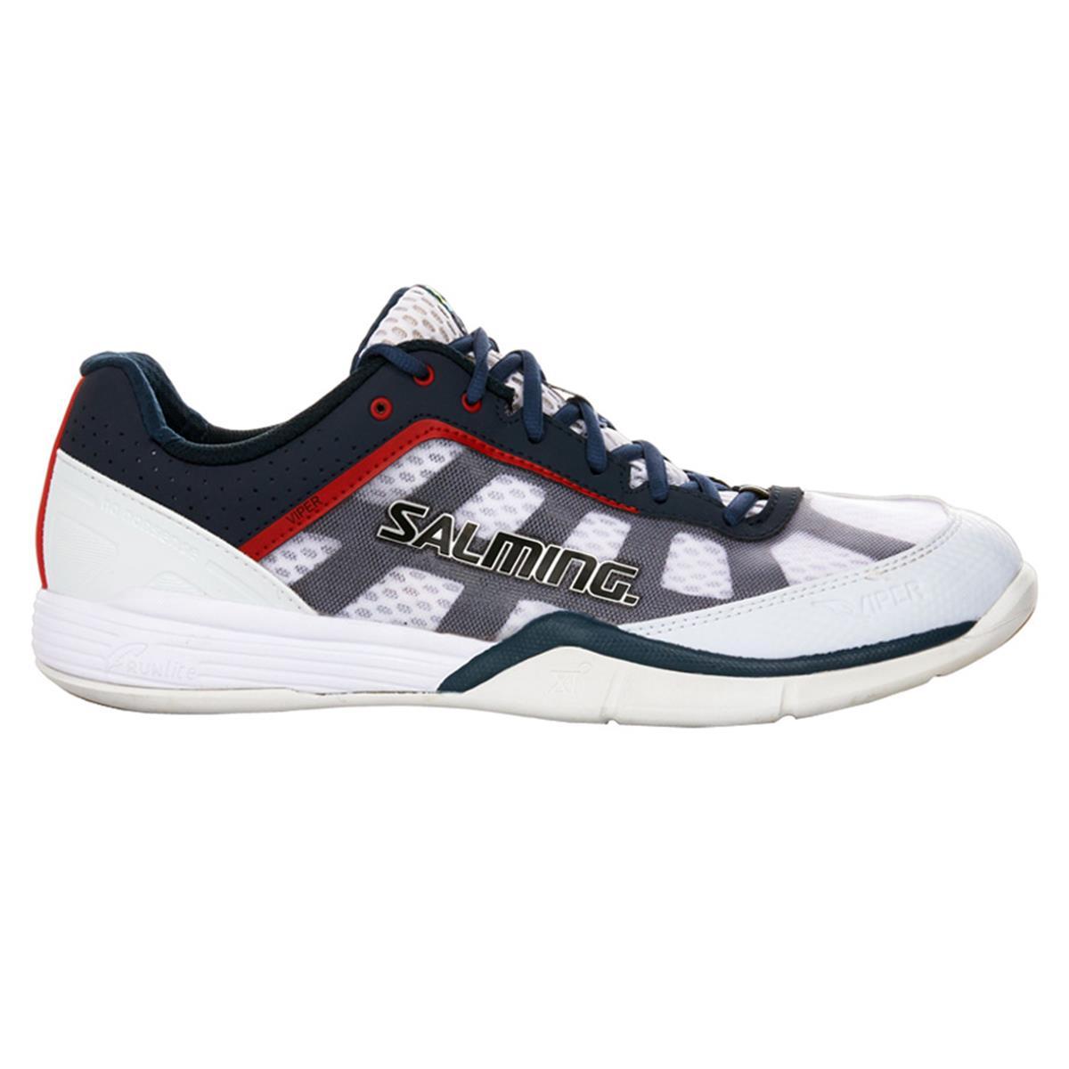 Salming Viper Mens Squash Shoes (White-Navy)   Direct
