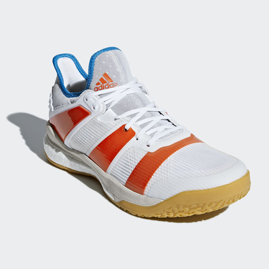 new concept 13631 47a24 adidas Stabil X Court Shoes (White-Orange) | Direct Badminton
