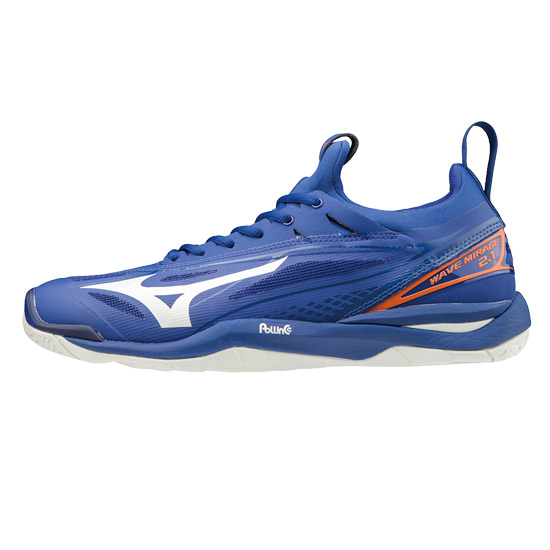 Mizuno Wave Mirage 2.1 Mens Court Shoes (Reflex Blue-White-Nasturtium)
