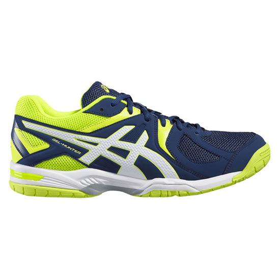 Asics Gel Hunter 3 Mens Court Shoes (Poseidon White Safety Yellow)   Direct Badminton