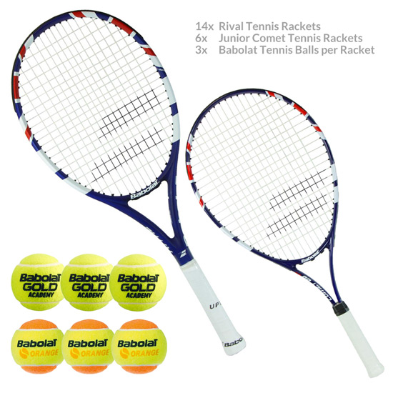 LTA Competition - 14x Babolat Rival Tennis Rackets, 6x Comet Junior Rackets  And Tennis Balls   Babolat   All Womens Clothing   Womenswear   Direct  Badminton
