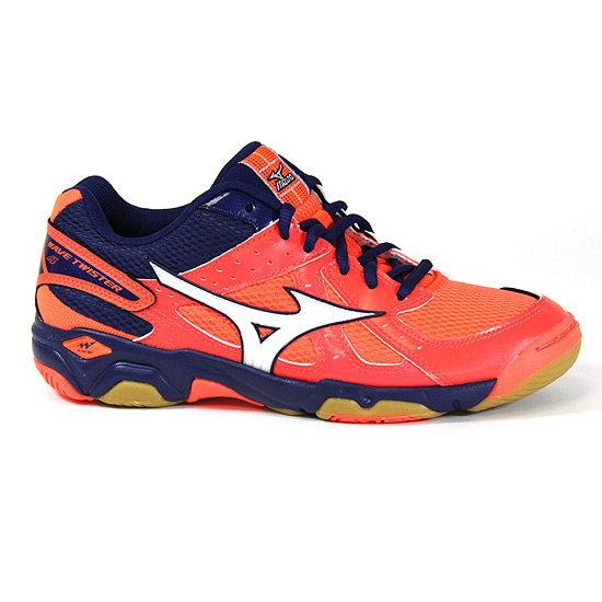 on sale 18aa4 a1163 Mizuno Wave Twister 4 Womens Court Shoes (Fiery Coral-Blue Depths)