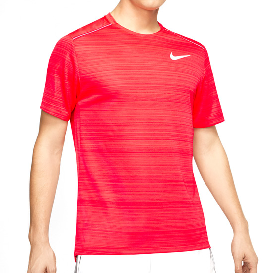 Nike Dri Fit Miler Mens Top (Laser Crimson Heather Reflective Silver) | Direct Badminton