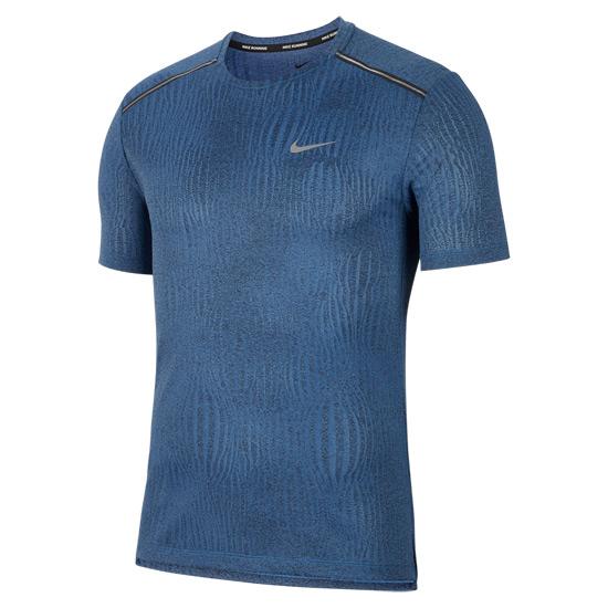Nike Dri Fit Miler Mens Top (Dark Smoke Grey Heather Reflective Silver) | Direct Badminton