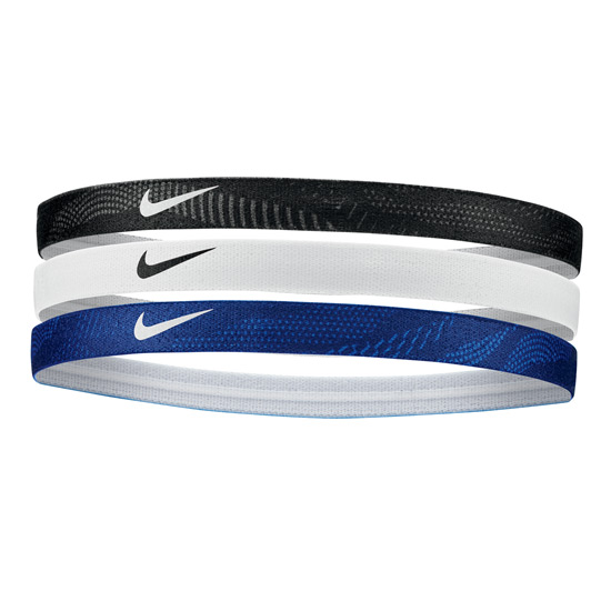 Nike Printed Headbands 3 Pack (Black- White- Blue Void)
