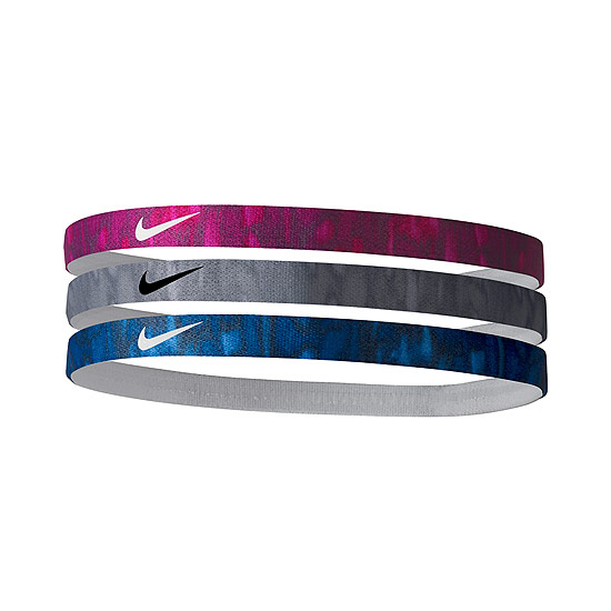 Nike Printed Headbands 3 Pack (White-Black-Rush Pink)