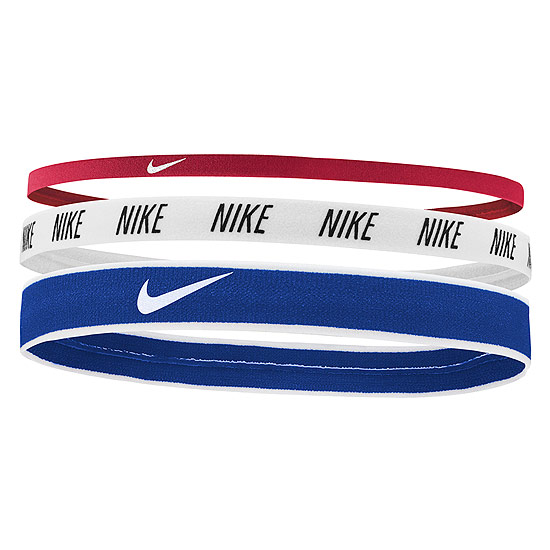 Nike Mixed Width Headbands 3 Pack (Gym Red-White-Game Royal)