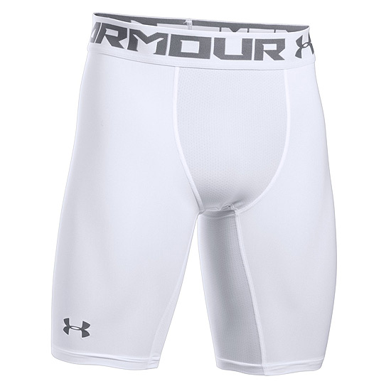 Under Armour HeatGear Compression 2.0 Mens Long Shorts (White-Graphite)