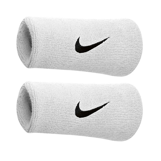 Nike Swoosh Doublewide Wristbands (White-Black)