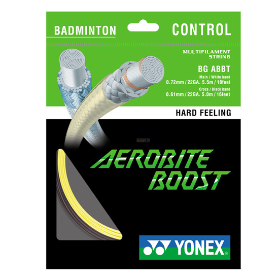 Yonex AeroBite Boost Hybrid Badminton Racket String (10m Set) Yellow-Dark Grey